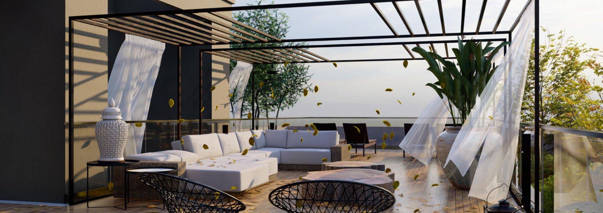 Lounge pôr do sol com lazer aberto no 20º andar